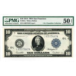 Fr. 951c. 1914 $10 Federal Reserve Note. Blue Seal. San Francisco. PMG About Uncirculated 50 EPQ.