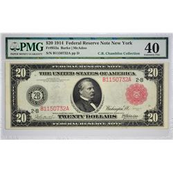 Fr. 953a. 1914 $20 Federal Reserve Note. Red Seal.  New York. PMG Extremely Fine 40.