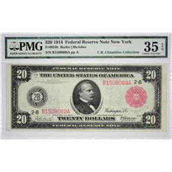 Fr. 953b. 1914 $20 Federal Reserve Note. Red Seal. New York. PMG Choice Very Fine 35 EPQ.