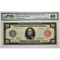 Fr. 959a. 1914 $20 Federal Reserve Note. Red Seal. St. Louis. PMG Extremely Fine 40.