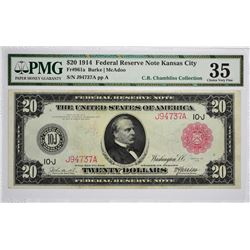 Fr. 961a. 1914 $20 Federal Reserve Note. Red Seal. Kansas City. PMG Choice Very Fine 35.