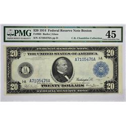Fr. 965. 1914 $20 Federal Reserve Note. Blue Seal. Boston. PMG Choice Extremely Fine 45.