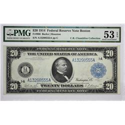 Fr, 966. 1914 $20 Federal Reserve Note. Blue Seal. Boston. PMG About Uncirculated 53 EPQ.