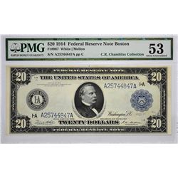 Fr. 967. 1914 $20 Federal Reserve Note. Blue Seal. Boston. PMG About Uncirculated 53.