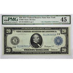 Fr. 968. 1914 $20 Federal Reserve Note. Blue Seal. New York. PMG Choice Extremely Fine 45.