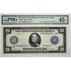 Fr. 969. 1914 $20 Federal Reserve Note. Blue Seal. New York. PMG Choice Extremely Fine 45 EPQ.