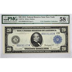 Fr. 971b. 1914 $20 Federal Reserve Note. Blue Seal. New York. PMG Choice About Uncirculated 58 EPQ.