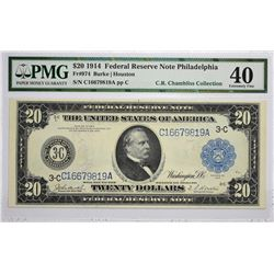 Fr. 974. 1914 $20 Federal Reserve Note. Blue Seal. Philadelphia. PMG Extremely Fine 40.