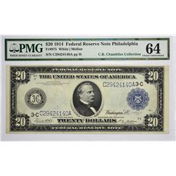 Fr. 975. 1914 $20 Federal Reserve Note. Blue Seal. Philadelphia. PMG Choice Uncirculated 64.