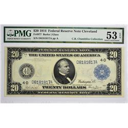 Fr. 977. 1914 $20 Federal Reserve Note. Blue Seal. Cleveland. PMG About Uncirculated 53 EPQ.