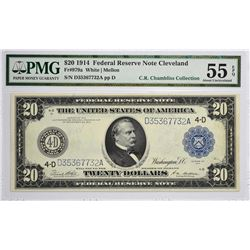 Fr. 979a. 1914 $20 Federal Reserve Note. Blue Seal. Cleveland. PMG About Uncirculated 55 EPQ.