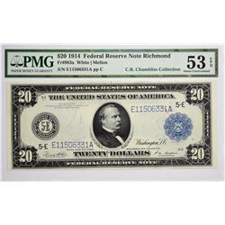 Fr. 983a. 1914 $20 Federal Reserve Note. Blue Seal. Richmond. PMG About Uncirculated 53 EPQ.