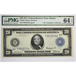 Fr. 984. 1914 $20 Federal Reserve Note. Blue Seal. Atlanta. PMG Choice Uncirculated 64 EPQ.