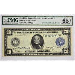 Fr. 987a. 1914 $20 Federal Reserve Note. Blue Seal. Atlanta. PMG Gem Uncirculated 65 EPQ.