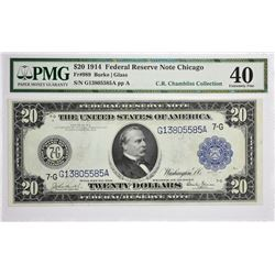 Fr. 989. 1914 $20 Federal Reserve Note. Blue Seal. Chicago. PMG Extremely Fine 40.