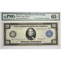 Fr. 991a. 1914 $20 Federal Reserve Note. Blue Seal. Chicago. PMG Gem Uncirculated 65 EPQ.