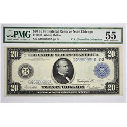 Fr. 991b. 1914 $20 Federal Reserve Note. Blue Seal. Chicago. PMG About Uncirculated 55.