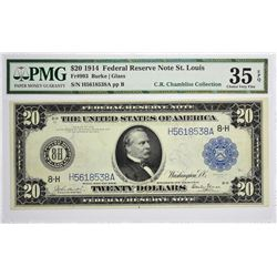 Fr. 993. 1914 $20 Federal Reserve Note. Blue Seal. St. Louis. PMG Choice Very Fine 35 EPQ.