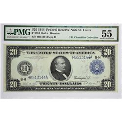 Fr. 994. 1914 $20 Federal Reserve Note. Blue Seal. St. Louis. PMG About Uncirculated 55.