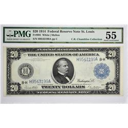 Fr. 995. 1914 $20 Federal Reserve Note. Blue Seal. St. Louis. PMG About Uncirculated 55.