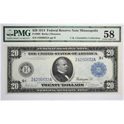Fr. 998. 1914 $20 Federal Reserve Note. Blue Seal. Minneapolis. PMG Choice About Uncirculated 58.