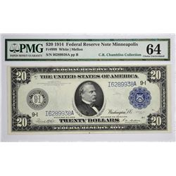 Fr. 999. 1914 $20 Federal Reserve Note. Blue Seal. Minneapolis. PMG Choice Uncirculated 64.