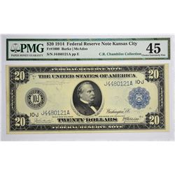 Fr. 1000. 1914 $20 Federal Reserve Note. Blue Seal. Kansas City. PMG Choice Extremely Fine 45.