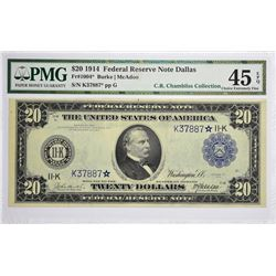 Important Finest PMG Graded Dallas Replacement Note Fr. 1004*. 1914 $20 Federal Reserve Star Note. B