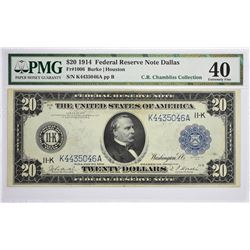 Fr. 1006. 1914 $20 Federal Reserve Note. Blue Seal. Dallas. PMG Extremely Fine 40.
