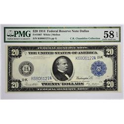 Fr. 1007. 1914 $20 Federal Reserve Note. Blue Seal. Dallas. PMG Choice About Uncirculated 58 EPQ.