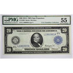 Fr. 1008. 1914 $20 Federal Reserve Note. Blue Seal. San Francisco. PMG About Uncirculated 55.