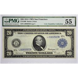 Fr. 1009. 1914 $20 Federal Reserve Note. Blue Seal. San Francisco. PMG About Uncirculated 55.