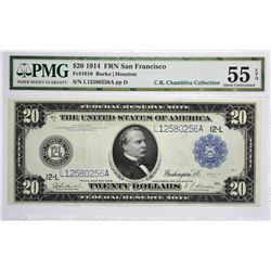 Fr. 1010. 1914 $20 Federal Reserve Note. Blue Seal. San Francisco. PMG About Uncirculated 55 EPQ.