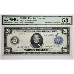 Fr. 1011b. 1914 $20 Federal Reserve Note. Blue Seal. San Francisco. PMG About Uncirculated 53.
