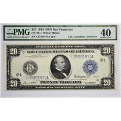 Fr. 1011c. 1914 $20 Federal Reserve Note. Blue Seal. San Francisco. PMG Extremely Fine 40.