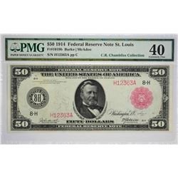 PMG Extremely Fine 40 St. Louis $50 Red Real