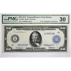 Fr. 1024. 1914 $50 Federal Reserve Note. Blue Seal. Boston. PMG Very Fine 30.