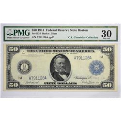 Fr. 1025. 1914 $50 Federal Reserve Note. Blue Seal. Boston. PMG Very Fine 30.