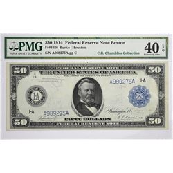 Fr. 1026. 1914 $50 Federal Reserve Note. Blue Seal. Boston. PMG Extremely Fine 40 EPQ.