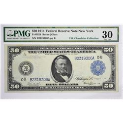 Fr. 1029. 1914 $50 Federal Reserve Note. Blue Seal. New York. PMG Very Fine 30.