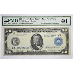 Fr. 1030. 1914 $50 Federal Reserve Note. Blue Seal. New York. PMG Extremely Fine 40.