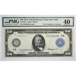 Fr. 1031a. 1914 $50 Federal Reserve Note. Blue Seal. New York. Extremely Fine 40.
