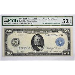 Fr. 1031b. 1914 $50 Federal Reserve Note. Blue Seal. New York. PMG About Uncirculated 53 EPQ.