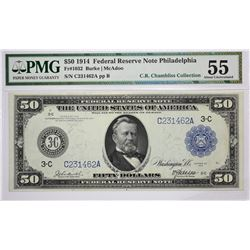 Fr. 1032. 1914 $50 Federal Reserve Note. Blue Seal. Philadelphia. PMG About Uncirculated 55.