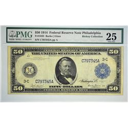 Fr. 1033. 1914 $50 Federal Reserve Note. Blue Seal. Philadelphia. PMG Very Fine 25. This scarce $50