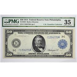 Fr. 1034. 1914 $50 Federal Reserve Note. Blue Seal. Philadelphia. PMG Choice Very Fine 35.