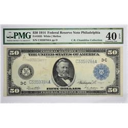 Fr. 1035. 1914 $50 Federal Reserve Note. Blue Seal. Philadelphia. PMG Extremely Fine 40 EPQ.