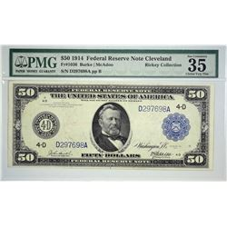 Fr. 1036. 1914 $50 Federal Reserve Note. Blue Seal. Cleveland. PMG Choice Very Fine 35 EPQ. Wonderfu