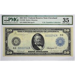 Fr. 1038. 1914 $50 Federal Reserve Note. Blue Seal. Cleveland. PMG Choice Very Fine 35.