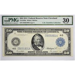 Fr. 1039a. 1914 $50 Federal Reserve Note. Blue Seal. Cleveland. PMG Very Fine 30.